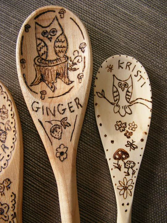 So cute, have the kids draw in pencil on wooden spoons then trace over with a wood burning tool. cute x-mas gifts for the grandparents
