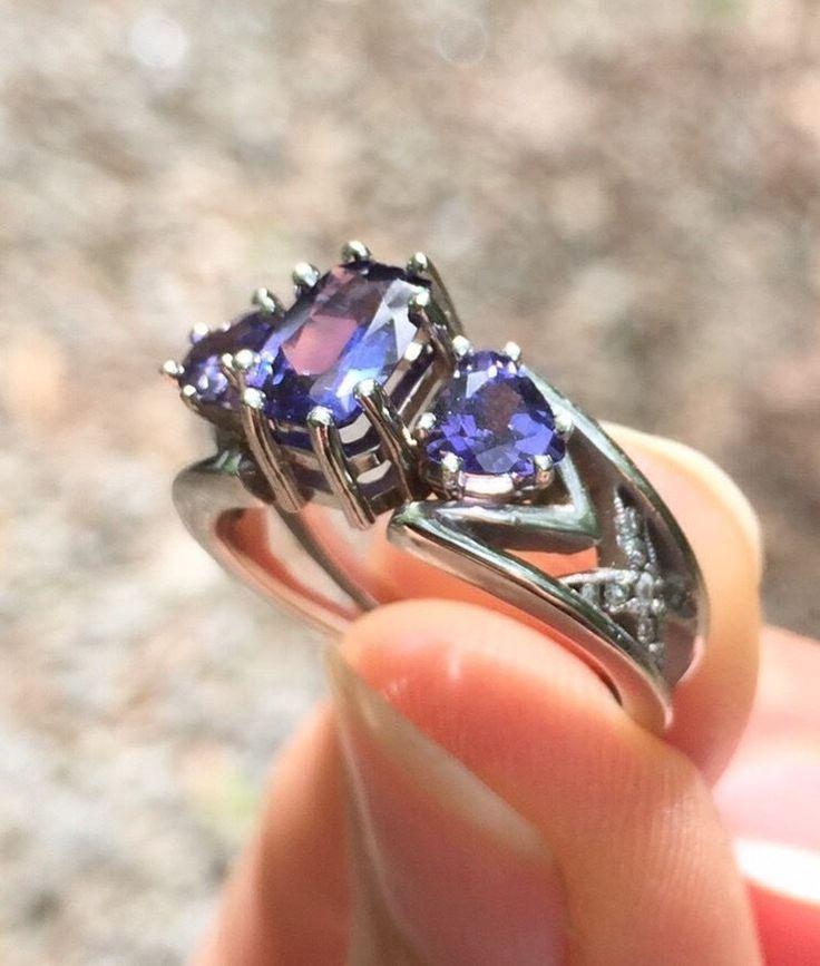 1 5 ct purple sapphire engagement ring 14k white