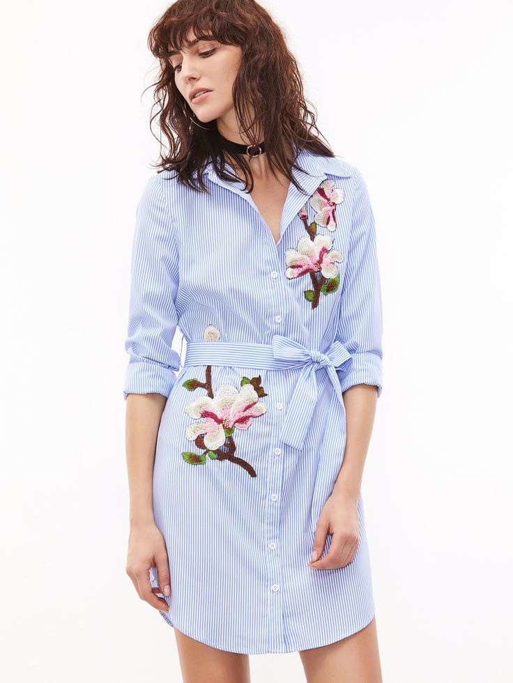 Blue And White Striped Self Belted Embroidered Shirt Dress | MakeMeChic.COM Mobile Site