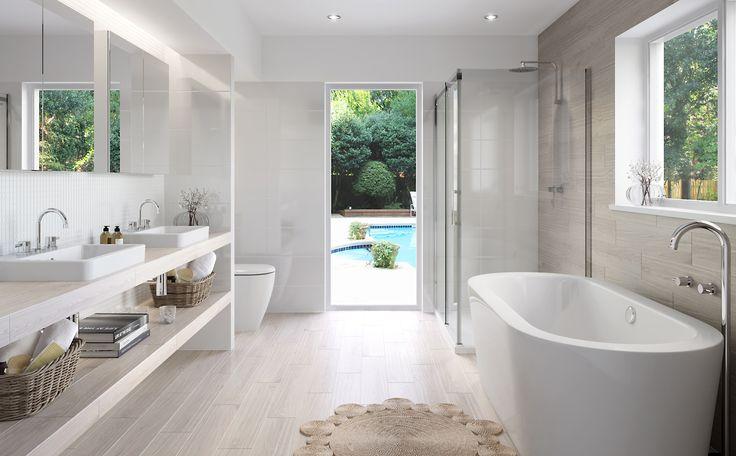 Pamper  - Bathroom Inspiration package at Bunnings Warehouse #updatedbathroom #crsipwhite #softtimberflooring