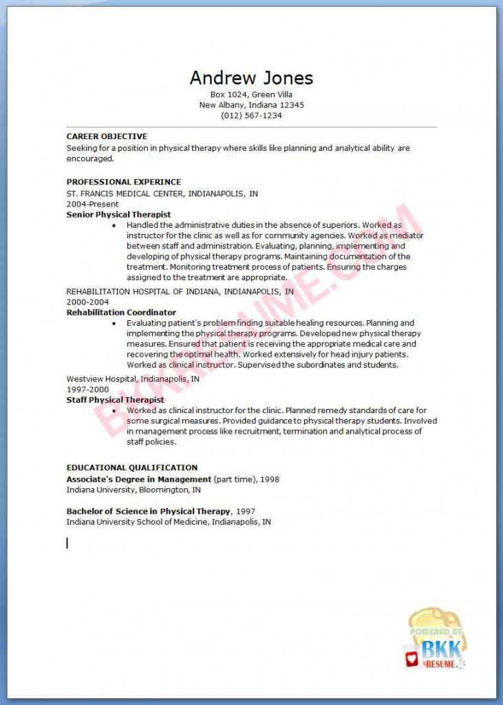 Sample Resume For Physical Therapist | Sample Resume And Free