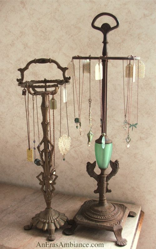 Ideas to repurpose old lamps - turn them into jewelry displays