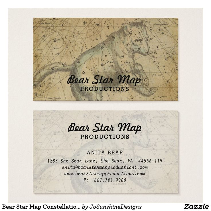 Bear Star Map Constellation Ursa Major Tan Business Card
