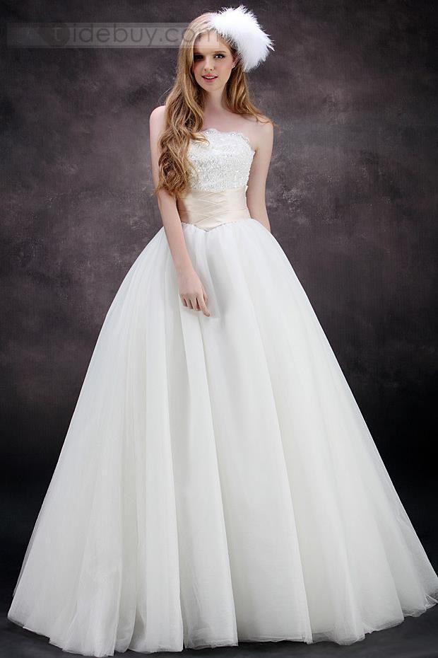 16000 Aラインストラップレス帝国ウエスト床まで届く長さチュールウェディングドレス