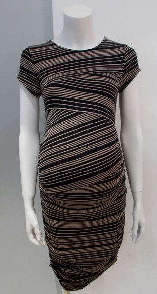 Gently Used Maternity Clothing Liz Lange Maternity black and camel stripe sleeveless t-shirt dress small
