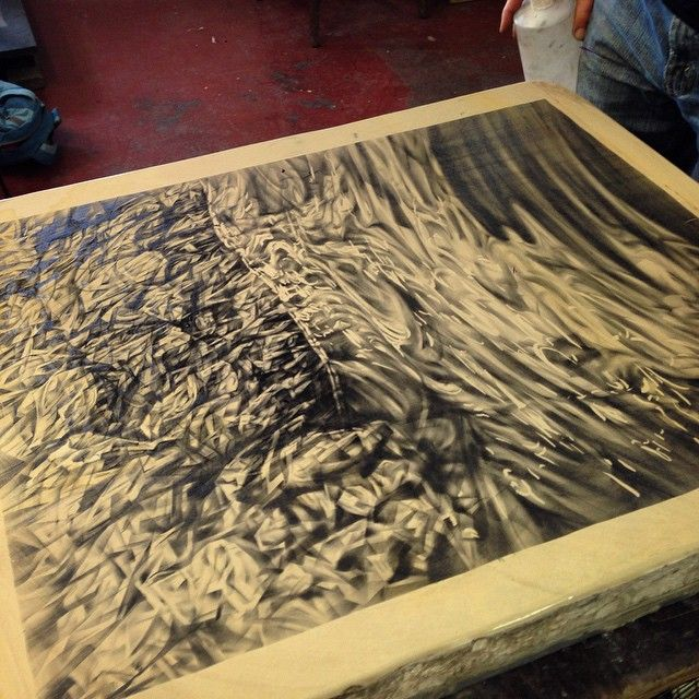 "Annika Romeyn work in progress: ""Progress on the lithograph! 1st etch on key stone at @lancasterpress next creating colour separations #lithography #printmaking #art #drawing"""