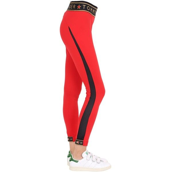 Tommy Hilfiger Collection Women Logo Microfiber Leggings ($99) ❤ liked on Polyvore featuring pants, leggings, legging pants, wide-waistband leggings, elastic pants, microfiber pants and tommy hilfiger pants