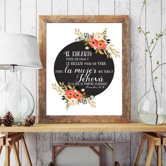 SPANISH   JW   Proverbios 31:30   Capable Wife    Elder's Wife   Jehovah   Art   Print   Printable   Decor   Pioneer   Gift   Present 0099 by AllThingsEverAfter on Etsy