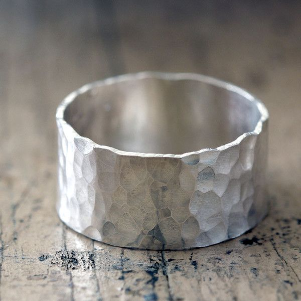 Hammered Wide Band Wedding Ring by Praxis Jewelry
