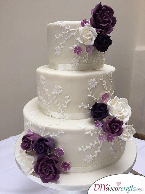 Shades of Purple – Hochzeitstorte Dekorationen   – Braut Hochzeitstorten