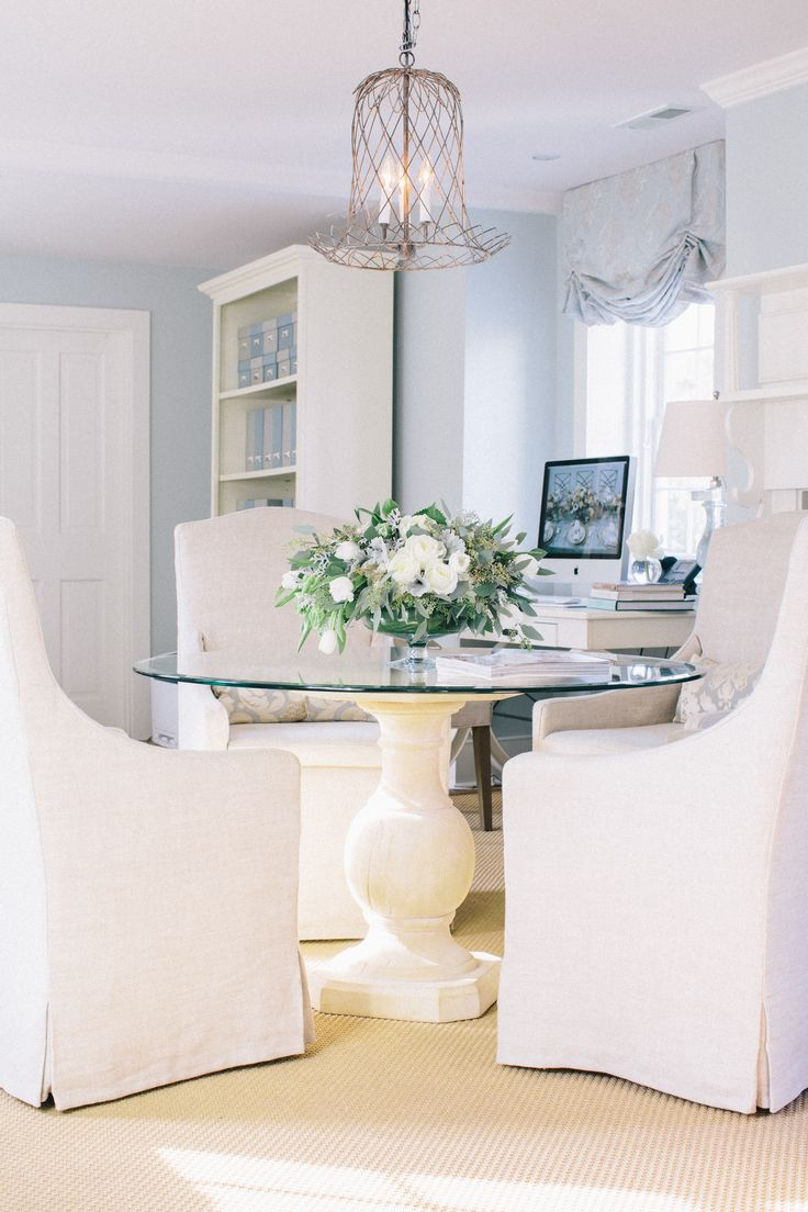 blue room and white slip covered dining chairs