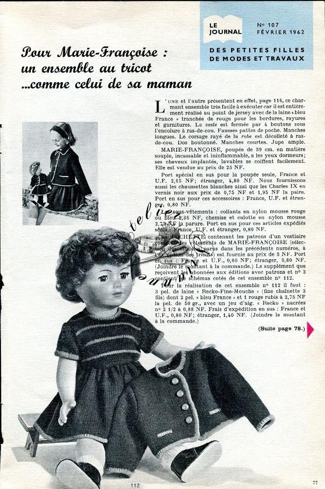 ❤ Page originale TRICOT , Poupée Marie Françoise MODES ET TRAVAUX Février 1962 ❤ : 1,99 EUR