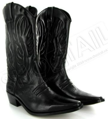 MENS CALF LENGTH LEATHER COWBOY BOOTS BLACK Size 6-11