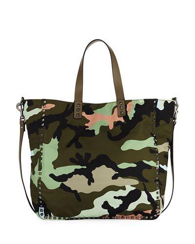 Men's Rockstud Camouflage Nylon Tote Bag