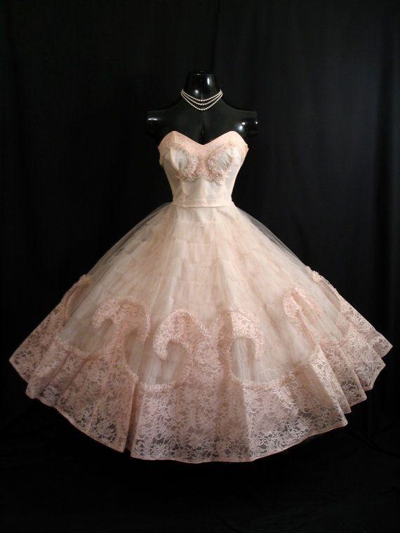 Vintage 1950's 50s Bombshell STRAPLESS Cotillion Prom Dress by VintageVortex…