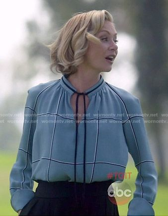 Elizabeth's blue checked tie-neck blouse on Scandal.  Outfit Details: http://wornontv.net/52882/ #Scandal
