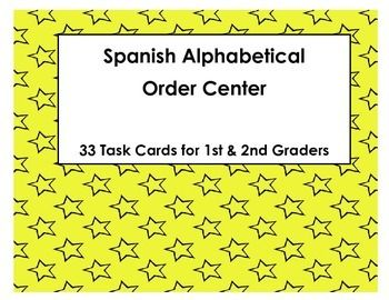 Buenisimo centro de orden alfabetico!!--- Spanish Alphabetical Order Task Cards (Orden Alfabetico)Product Includes: Spanish Alphabetical Order Task Cards (Orden Alfabetico espaol) In this packet you will receive: -33 task cards (5 words per card) for ABC Order in Spanish -1 answer recording sheet-1 answer key. This activity is for: -Children in 1st or 2nd grade in Spanish immersion, bilingual literacy or Spanish literacy programs.
