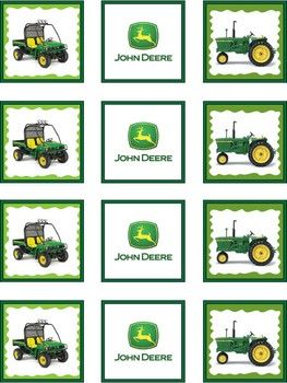 Free John Deere Printables - Squares, Tags, Invitations, Coloring Sheets, Favor Boxes, Etc.