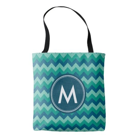 Trendy Preppy Teal Blue Chevron Monogram Tote Bag by Rosewood and Citrus on Zazzle