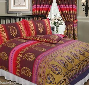 Kashmir Red Burgundy Gold Purple Ethnic Indian Flowers Dots Bedding Or  Curtains