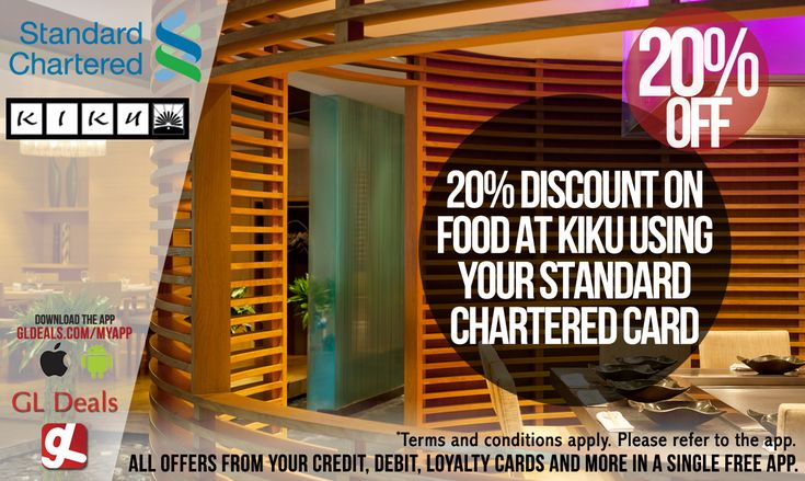 Use your Standard Chartered Credit Card to enjoy 20% discount on food at Kiku. Download GL Deals app now and get further access to more of your cards' offers. http://www.gldeals.com/myapp #dxb #instalike #tagsforlikes #happy #blessed #MyDubai #creditcards #uae #offers #app #appstore #iosapp #googleplay #android #ios #gldeals #deals #discounts #cards #igersdubai #kiku #japanese #sushi #standardcharteredbank #lemeridien
