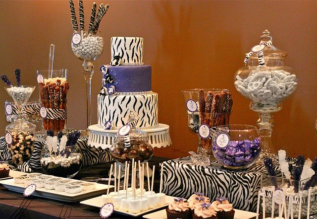 Zebra Bridal Shower Sweets Table by The Couture Cakery, via Flickr