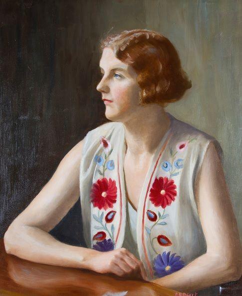 #Captain J.B. #Peart #Portrait of the #writer and #illustrator #Marian #Ada. Peart, circa 1930  #Framed #Oiloncanvas #modernart #embroidery #fabricinart #Britishart #painting #art #llfa