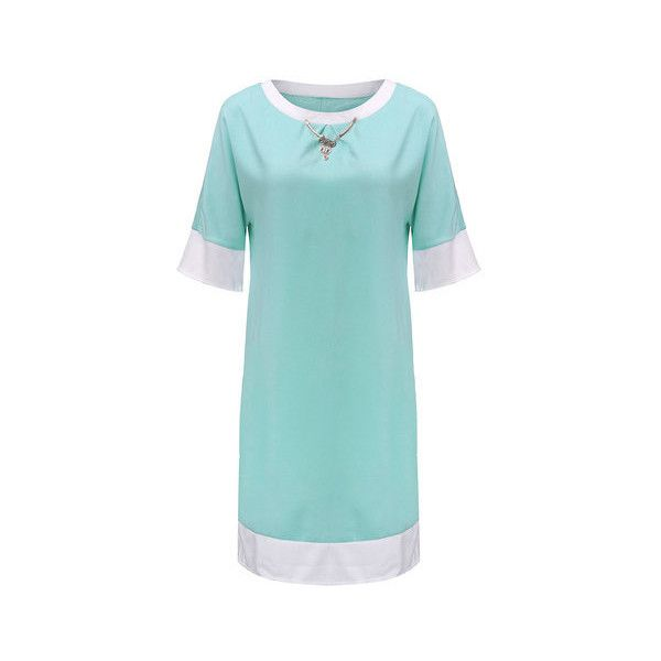 Casual Women Stitching Pure Color Round Collar Cotton Polyester Dress (815 RUB) ❤ liked on Polyvore featuring plus size women's fashion, plus size clothing, plus size dresses, light green, women plus size dresses, sleeved dresses, womens plus dresses, three quarter length sleeve dress, light green dress and cotton dresses