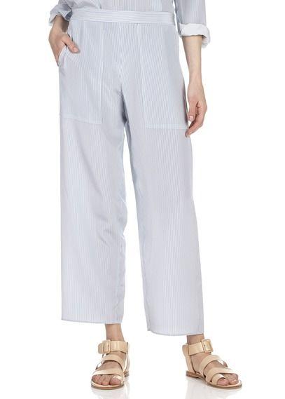 Pantalon large fluide en soie rayée Bleu by VANESSA BRUNO