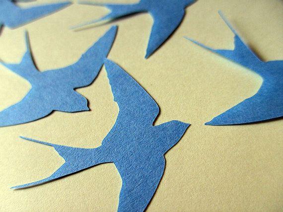Die cut paper swallow blue embellishments, card making supplies sur Etsy, 3,68 €
