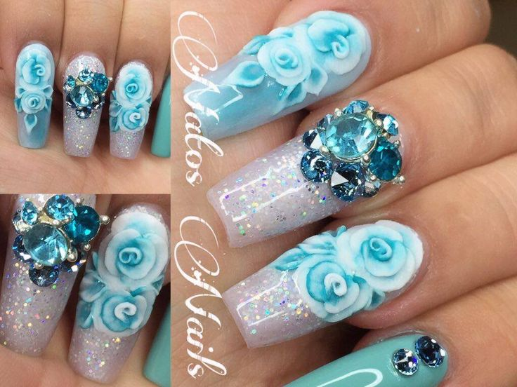 Uñas Acrilicas Aqua Con Rosa en 3D   Natos Nails