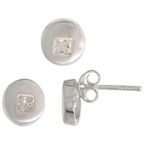 Sterling Silver Matte-finish Round-shaped Earrings (7mm) & Pendant Slide (8mm) Set, w/ Princess Cut CZ Stones Sabrina Silver. $33.38
