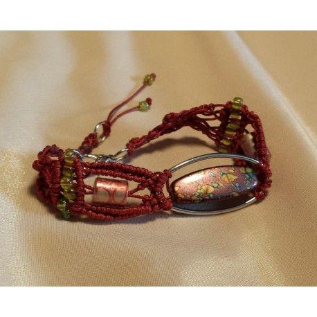 Bratara handmade unicat bordo Dimensiune: 17.5-cm-19cm Margele asortate Poate fi largita