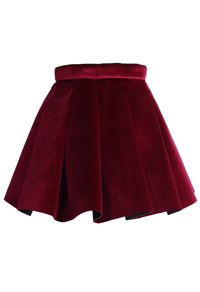 Glossy Velvet Pleated Skirt in Burgundy | Holiday Red | Party | Event | Cute Style