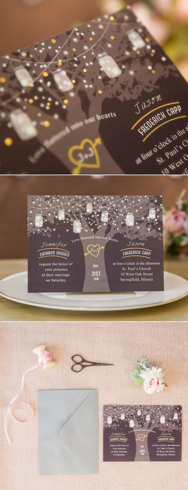 love tree wedding invitation with foil twinkle