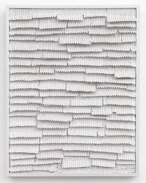 Jan Schoonhoven - Thin Ridge Cardboard – Second One, 1965 Latex paint, paper, cardboard, and artist's frame. 72 x 56 x 6 cm