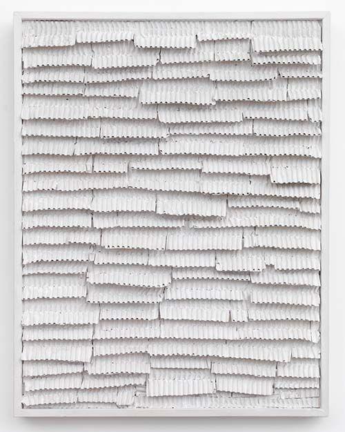 Jan Schoonhoven - Thin Ridge Cardboard – Second One, 1965 Latex paint, paper, cardboard, and artist's frame. 72 x 56 x 6 cm