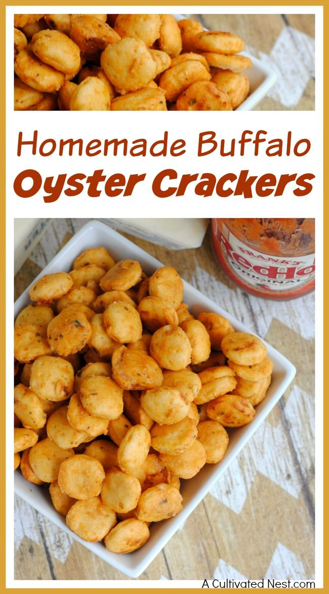 Want a great game day snack that's quick, easy to make and delicious? Then make these homemade buffalo oyster crackers! | game day recipe, sports game recipe, appetizer, snack recipe, easy recipe, quick recipe