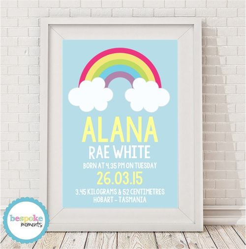 Rainbow Cloud Birth Print by Bespoke Moments. Worldwide Shipping Available.