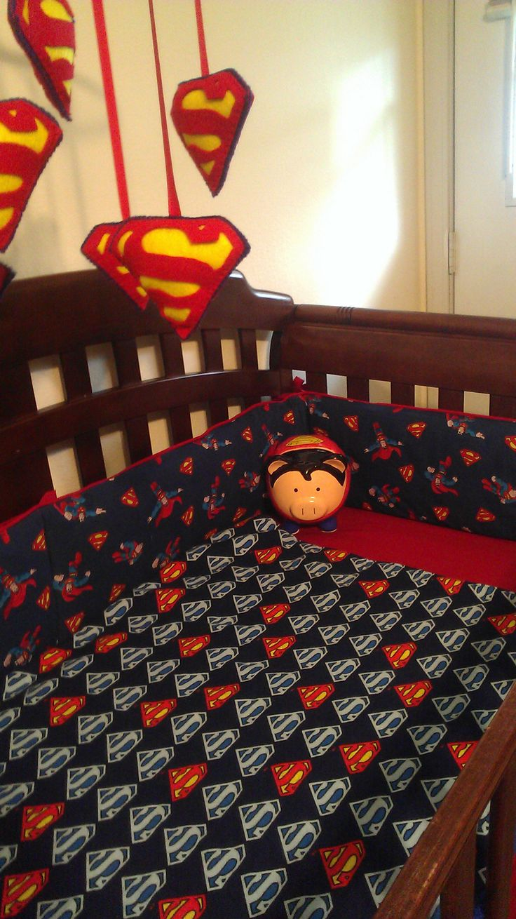 Jr's Crib Bumpers. Superman Crib bumper, bedding.