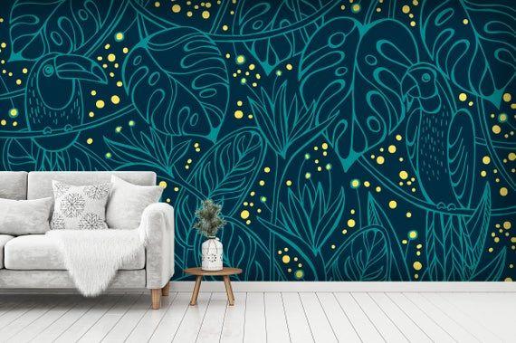 3d Hand Painted Parrot Green Wallpaper Mural Peel And Stick Etsy In 2021 Mural Wallpaper Green Wallpaper Wallpaper