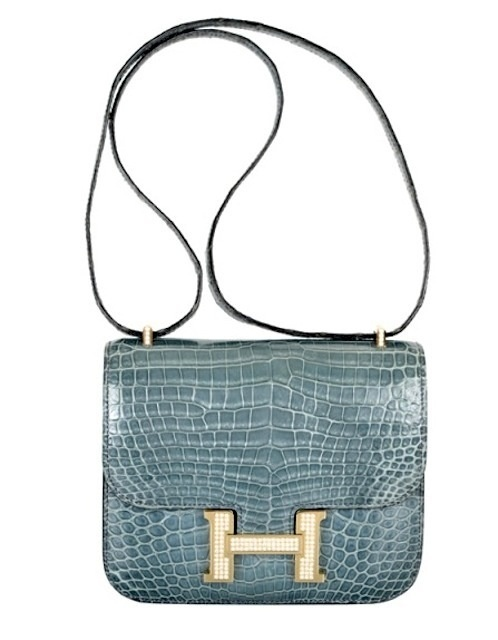 Hermes 18cm diamond white gold blue jean crocodile constance ...