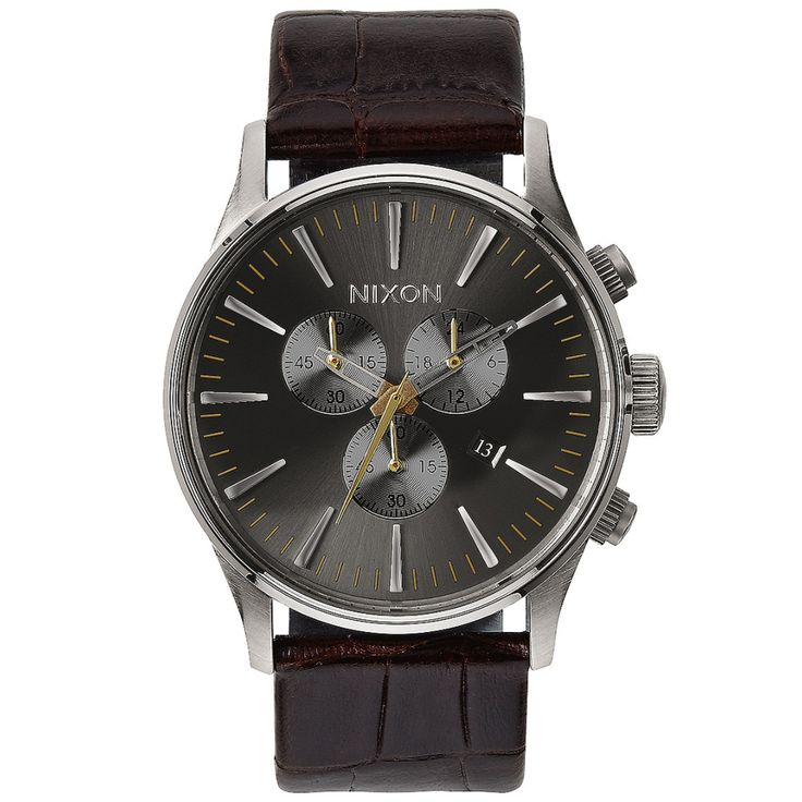 Nixon SENTRY CHRONO LEATHER - BROWN GATOR watch available at www.mulierstore.com