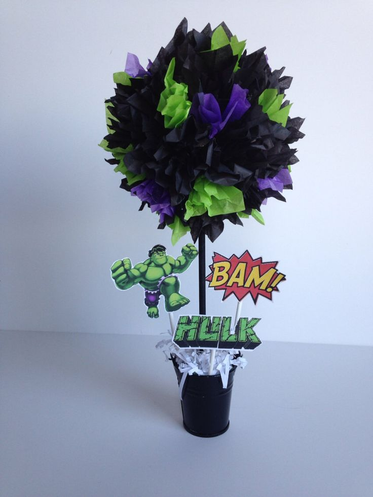 Super Hero, Hulk birthday party decoration, centerpiece, centerpieces by AlishaKayDesigns on Etsy https://www.etsy.com/listing/176836360/super-hero-hulk-birthday-party