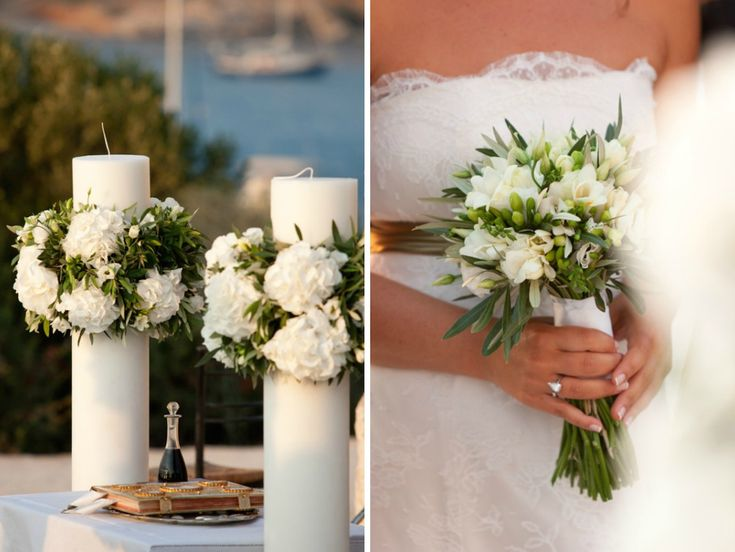 A Greek Flavored Wedding Party @Toni Presnall by De Plan V. Bridal bouquet with white freesia flower and olive tree leaves. Wedding ceremony candles with olive tree leaves, white hydrangea and freesia.