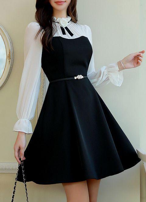 Brooch Set Romantic Chiffon Flared Dress