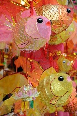 Chinese paper lanterns - So cute!  Fishies, come live at my house please. #stylecure