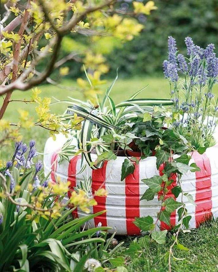 1000 id es sur le th me vieux bacs fleurs faits avec des pneus sur pinterest pneus en - Decoration jardin avec des pneus ...