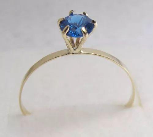 anel de ouro 18 k com pedra safira azul