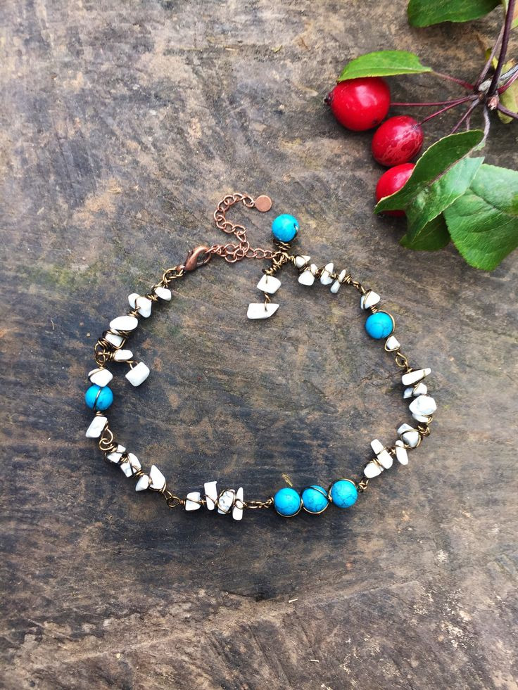 Boho turquoise anklet, blue and white anklet, ethnic anklet, wire jewellery, bohemian body jewelry, semi precious beads by YouHadMeAtBoho on Etsy https://www.etsy.com/uk/listing/549307092/boho-turquoise-anklet-blue-and-white